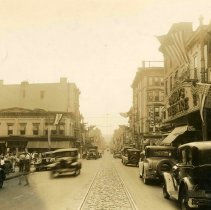 Image of Sepia-tone photo of a view looking down First Street from Washington Street, Hoboken, 1933. - Print, Photographic