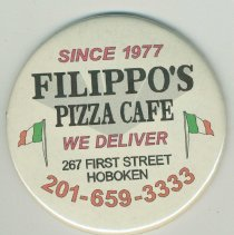 Image of Advertising magnet for Filippo's Pizza Cafe, 267 First Street, Hoboken, no date, ca. 2002. - Magnet, Advertising