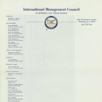 Image of Blank printed letterhead of International Management Council of Hoboken and North Hudson, Hoboken, no date, ca. 1960. - Stationery