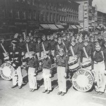 Image of B+W photostatic copy of image of Our Lady of Grace Marching Band posed on Washington Street, Hoboken, no date, ca. 1950. - Print, Photographic