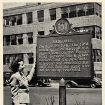 Image of Printed b+w photo of the bronze plaque placed at Eleventh St. and Hudson Street in 1946 commemorating the 1846 game at Elysian Fields, Hoboken. - Print, Photographic