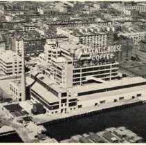 Image of Printed b+w photo of aerial view of Maxwell House Coffee plant at 11thSt. & Hudson River, Hoboken, published 1946. - Print, Photographic