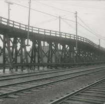 Image of B+W photo of Public Service Railway trestle on the White Line, southeast from W.S. Rail Road track, Hoboken, November 6,1910. - Print, Photographic