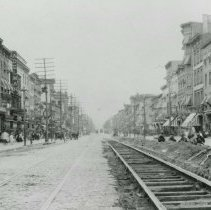 Image of B+W photo of Public Service Railway streetcar rails on Washington Street looking north from Second St., Hoboken, Friday, August 22, 1913. - Print, Photographic