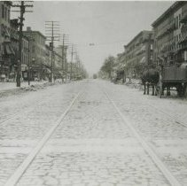 Image of B+W photo of Public Service Railway streetcar rails on Washington Street looking north from Fourth St., Hoboken, Friday, August 22, 1913. - Print, Photographic