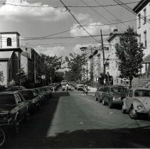 Image of B+W photo of Garden Street looking north from Fifth St., Hoboken, 1986. - Print, Photographic