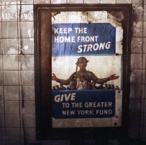 Image of Color photo of an interior wall of the now-closed 19th Street PATH (Hudson & Manhattan) station in New York City, ca. 1987. - Print, Photographic