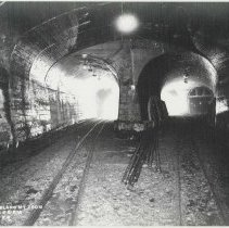 Image of B+W copy photo of a photo inside tunnels of Hudson & Manhattan Rail Road, location not certain, June 3, 1907. - Print, Photographic