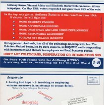 Image of Political postcard supporting the candidacy of Anthony Russo in the June 10, 2003 run-off election for a Third Ward City Council seat, Hoboken, 2003. - Handbill, Political