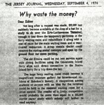 "Image of Photocopy of newspaper clipping, letter to the editor, ""Why waste the money?"" re Erie Lackawanna Terminal, September 4, 1974. - Documents"