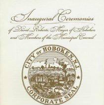 Image of Souvenir program from the Inaugural Ceremonies of David Roberts, Mayor of Hoboken and Members of the Municipal Council, July 1, 2001. - Program