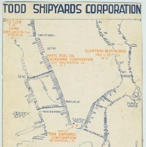 Image of Map clipped from magazine showing locations of Todd Shipyards Corporation plants in New York and Hoboken, no date, ca. 1925. - Map