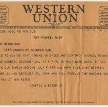 Image of Telegram from K&E, Dec. 21, 1946 to employee Anita Heimbruch, 1217 Garden St., Hoboken, re end of strike & reopening date. - Letter