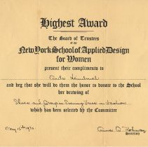 Image of Certificate: Highest Award, N.Y. School of Applied Design for Women, for drawing done by Anita Heimbruch of Hoboken, May 15, 1930. - Certificate, Achievement