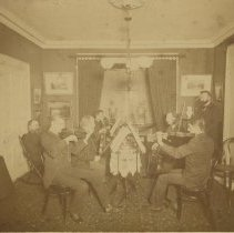Image of Digital image of sepia-tone photo of Antonio Jacobsen playing cello with other musicians in the parlor of 705 Palisade Avenue, W. Hoboken, 1889. - Print, Photographic