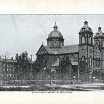 Image of Digital image of black-and-white photo of south view of St. Michael's Monastery and Church, West Hoboken, ca. 1900. - Print, Photographic
