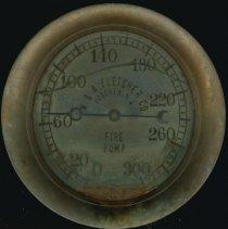 Image of Fire pump water pressure gauge manufactured by W. & A. Fletcher Company, Hoboken, no date, ca. 1890-1928. - Gauge, Water