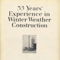 """Image of """"35 Years' Experience in Winter Weather Construction"""" issued by the John W. Ferguson Co., being Vol. VI, No. 1 of  """"Ferguson Service,"""" Nov., 1927. - Pamphlet"""