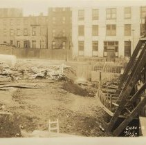 Image of Sepia-tone photo of foundation preparation and concrete forms on the south end of the site for the Fabian Theatre, Hoboken, Dec. 17, 1927. - Print, Photographic