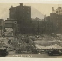 Image of Sepia-tone photo of foundation preparation and concrete forms on the north end of the site for the Fabian Theatre, Hoboken, Jan 3, 1928. - Print, Photographic