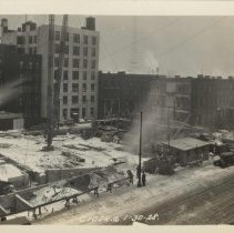 Image of Sepia-tone photo of progress on foundation construction on the site for the Fabian Theatre, Newark & Washington Sts., Hoboken, Jan. 30, 1928. - Print, Photographic
