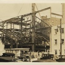 Image of Sepia-tone photo of steel frame erection & fireproof stage house for the Fabian Theatre, Newark & Washington Sts., Hoboken, March 12, 1928. - Print, Photographic
