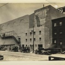 Image of Sepia-tone photo of exterior brickwork for the Fabian Theatre, Newark & Washington Sts., Hoboken, April 30, 1928. - Print, Photographic