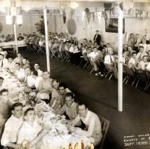 """Image of Sepia-tone panoramic group photo of the Annual Outing of the Hoboken Knights of Columbus at """"Alps Castle,"""" September 14, 1941. - Print, Photographic"""