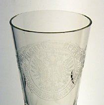 Image of Footed Pilsner beer glass with engraved decoration from R. Naegeli's Sons, Hoboken,n.d, ca. 1880-1900. - Glass, Drinking