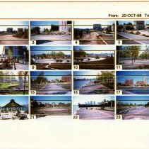 Image of Color index print of 25 photos of construction progress on Pier A park, Hoboken, 1998. - Print, Photographic