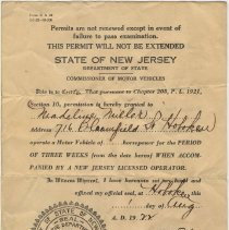 Image of State of New Jersey temporary driver's permit for Madeline Miller of Hoboken, issued August 1, 1922. - License