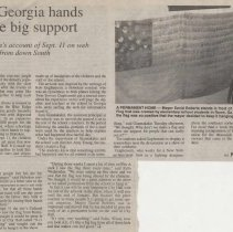 "Image of Newspaper clipping of article ""Little Georgia hands provide big support"""