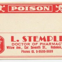 "Image of Printed label for prescription container, ""Poison,"" from Stemple Pharmacy, 266 Seventh St., Hoboken, no date, ca. 1950. - Label"