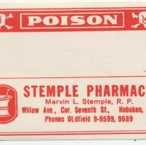 """Image of Printed label for prescription container, """"Poison,"""" from Stemple Pharmacy, 266 Seventh St., Hoboken, no date, ca. 1950. - Label"""
