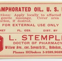 Image of Printed label for medicine container, Camphorated Oil, U.S.P., from Stemple Pharmacy, 266 Seventh St., Hoboken, no date, ca. 1940. - Label