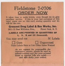 Image of Postcard for ordering replacement drug labels, found in Stemple Pharmacy, 266 Seventh St., Hoboken, no date, ca. 1950-1960. - Postcard