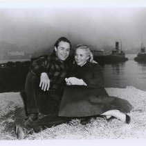 """Image of B+W publicity photo of Marlon Brando as Terry Malloy  with Eva Marie Saint as Edie Doyle in film """"On the Waterfront,"""" Hoboken, no date, ca 1953-54. - Print, Photographic"""