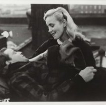 """Image of B+W publicity photo of Marlon Brando as Terry Malloy with Eva Marie Saint as Edie Malloy in film """"On the Waterfront,"""" Hoboken, no date, ca. 1953-1954. - Print, Photographic"""