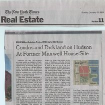 Image of Newsclipping: Condos and Parkland on Hudson at Former Maxwell House Site. In The New York Times, Real Estate Section, p. 1, Jan. 25, 2004. - Newspaper
