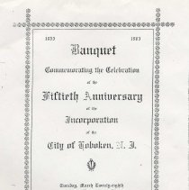 Image of Photocopy of menu from Banquet Commemorating the Fiftieth Anniversary of the Incorporation of the City of Hoboken, March 28, 1905. - Documents