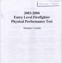 Image of Monitor's Guide for 2003-2004 Entry Level Firefighter Physical Performance Test, [Hoboken, 2004]. - Booklet