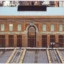 Image of Digital color image of aerial view of Hoboken Terminal's waiting room western facade, Hoboken, no date, [2004]. - Print, Photographic