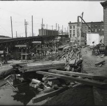 Image of Digital image of b+w photo of site preparation for the Hudson & Manhattan Railroad maintenance building at Hudson Place, Hoboken, June 23, 1906. - Print, Photographic