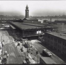 Image of Digital image of b+w photo of a Bird's Eye View of Hoboken Terminal, Hoboken, May 21, 1910. - Print, Photographic