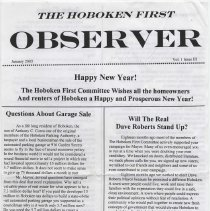 Image of The Hoboken First Observer, Vol. 1, No. 3., January, 2003. Issued by the political party, Hoboken First Committee, John Corea. - Handbill, Political