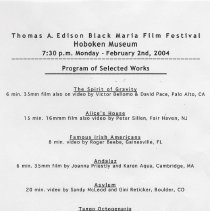 Image of Handbill listing for the 23rd Annual Black Maria Film & Video Festival films shown at the Hoboken Historical Museum, Feb. 2, 2004. - Handbill