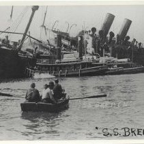 Image of B+W copy photo of postcard, S.S. Bremen sinking at pier after June 30, 1900, Hoboken fire. - Print, Photographic