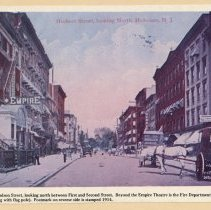Image of Printed view of a color postcard of Hudson Street looking north between First and Second Sts., Hoboken, 1914 or earlier. - Print