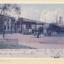 Image of Printed view of a color postcard of the Holland-America Line Fifth Street Pier, Hoboken, ca. 1905. - Print