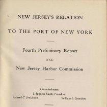 Image of New Jersey's Relation to the Port of New York. Fourth Preliminary Report of the New Jersey Harbor Commission. February, 1914. - Documents